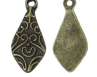 Charm pendant, ornate, 2.1 cm, bronze metal, set of 4 Pcs