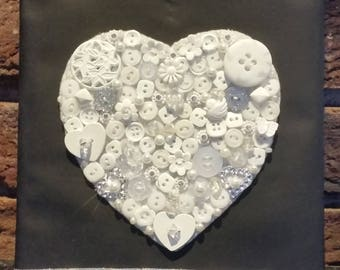 3-D Button White Heart Canvas
