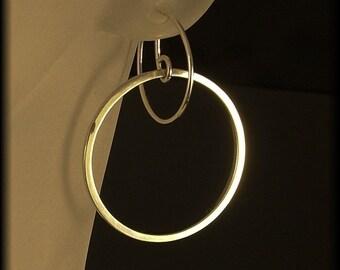 Modern Silver Hoops / Unique Floating Hoop Design /  A MetalRocks Original  / Silver Hoop Earrings / A Different Kind of Hoop