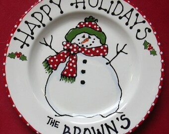 Snowman Plate,cookies for santa plate,santa cookie plate,Milk and Cookies,child Christmas gift,baby gift,baby's 1st Christmas -snowman plate