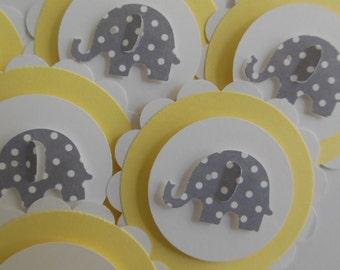 Elephant Cupcake Toppers - Yellow and White with Gray Polka Dot Elephants - Gender Neutral - Baby Showers - Birthday Parties - Set of 6