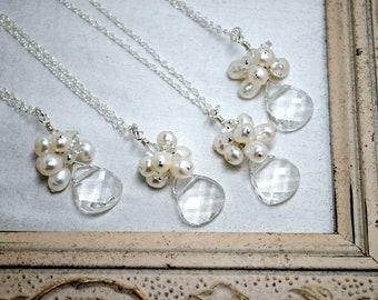4 sets of Bridesmaids Necklaces, Four Bridal Necklaces, Beach Theme Wedding, Bridal Party, Cluster Pendant, Bridesmaids Jewelry