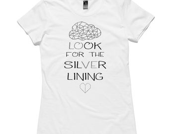 Look for the Silver Lining #makeforgood T-Shirt by RockPaperHeart in womens black or white origami cloud heart love