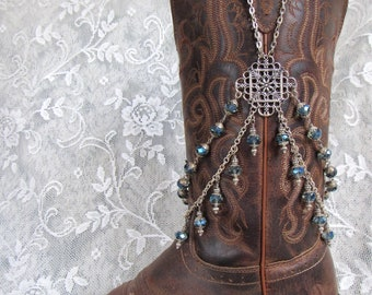 "Denim Blue Crystal Boot Jewelry ""Bootlery"" Boot Bracelet Boot Bling"