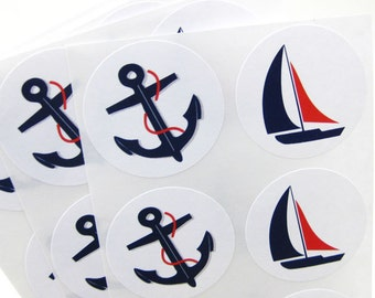 Nautical Stickers Anchor and Boat Navy Blue and Red - 30 labels 1.5 inch (2 designs)
