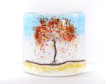 Fused Glass Curve, Autumn Tree, Glass Art, Gift, free standing glass, autumn, glass gift,