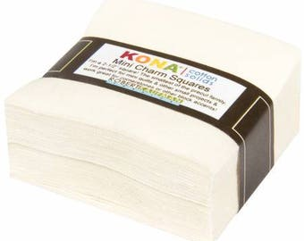 "Snow Kona Cotton Mini Charm Squares - 84 - 2.5"" Pre-Cut Fabric Squares - Robert Kaufman MCH-106-84, Off White Cotton Pre-Cut Squares"