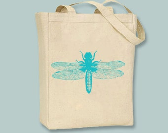 Bright Summer Vintage Bugs 1 on Canvas Tote - Selection of sizes choice of image color available