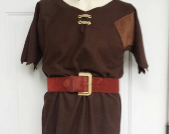 Custom Upcycled Steampunk Clothing - Giant from Clash of Clans Costume - Brown Flannel Tunic with Red Belt, Adult Size S, M, L