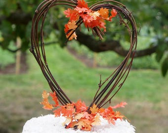 Fall Decor Grapevine Twig Cake Topper With Autumn Leaves