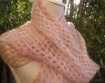 SCARF silk and MOHAIR crochet salmon color