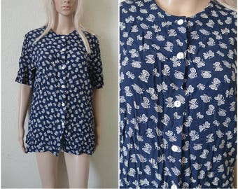 Navy Blouse Butterfly print Blouse Patterned blouse hipster blouse Navy blue retro vintage blouse Womens Alexa Chung style S Small UK 8 10