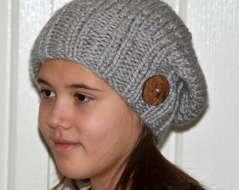 Slouchy Hat Hand Knitted Mens Womens Slouchy Beanie Hat Grey