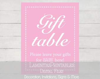 gift table sign baby shower, baby shower decor, table signs, baby shower sign, baby shower table, pink baby shower girl, printable BS01