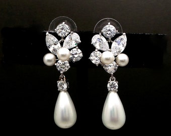 bridal earrings wedding jewelry platinum shell pearl earrings Clear white round cubic zirconia cz post white cream pearl crystal cluster