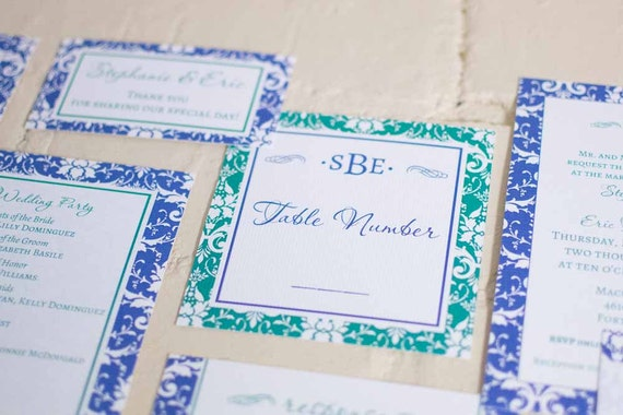 Stephanie Table Numbers & Place Cards, Blue and Green Damask Table Cards,  Edwardian Escort Cards