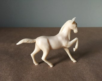 1970s Molded Plastic White Horse Toy