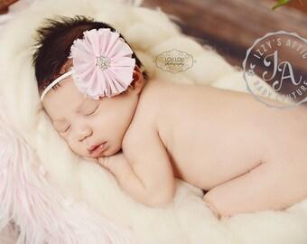 Pink headband, rhinestone headband, baby headband, flower headband, glamour headband, vintage headband, baby bow, sparkle headband