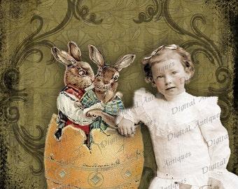 Weinlese-Ostern Foto Fantasy Collage Blatt Digital Download