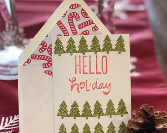 Hello Holiday Greeting Card with Lined Envelope