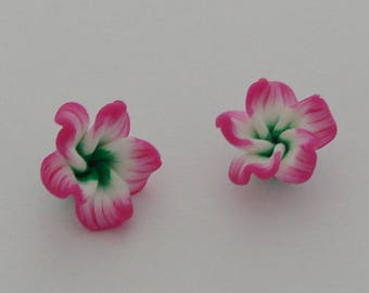 2 white green Fuchsia - Ref polymer clay flowers: PF 708