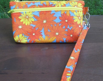 READY to SHIP-Wristlet/Wallet/Zipper Bag-Bright Orange & Yellow Daisies