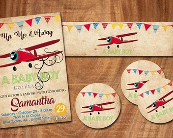 18  up up and away invitation birthday invitation  heavy cardstock + free matching color envelopes