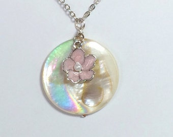 Mother of Pearl Necklace Pink Flower Necklace Friendship Gift Mom Sister Women's Gift
