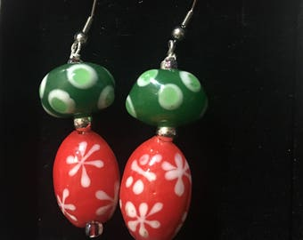 Fun! Red and Green Christmas Earrings