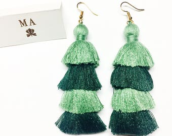 Green long tassle fringe earrings