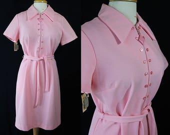 60s 70s Shift Dress, Pink Dress, Deadstock, Plus Size Dress