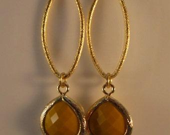 Gold Hoop Earrings, drop earrings, bezel earrings, dangle earrings, yellow earrings, gold earrings, earrings, drop earrings, marquise hoops