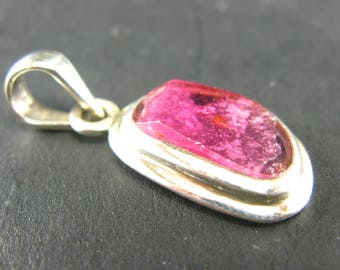 Pink Tourmaline Sterling Silver Pendant - 1.3""