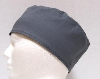 Mens Gray or Grey Scrub Hat, Scrub Cap, Surgical Cap, Skull Cap, Chemo Cap