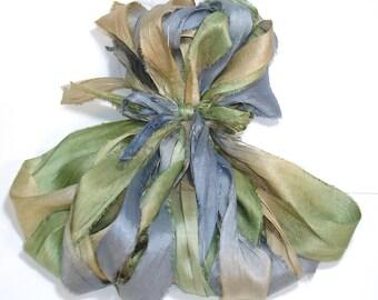 10YD. MORNING DEW Sari Silk Bundle//Dyed Silk Sari Ribbon Bundle//Sari Tassels,Sari Wall Decor,Sari Fiber Jewelry,Sari Tapestry