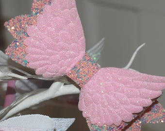 Pink Angel Wings Glitter Hair Bow - Large
