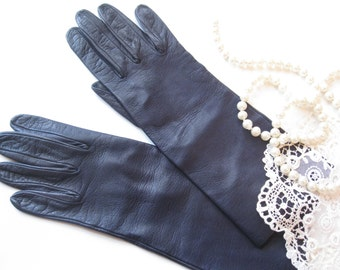 Leather Gloves, Size 7, Black, Real Kid, by mailordervintage on etsy