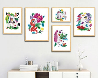 Chinese Paper Cutting Rabbit set of 5, Chinoiserie design inspiration, craft, card, scrapbook, Wall Art, INSTANT DOWNLOAD