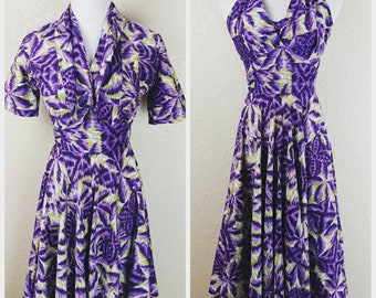 Hello! Incredible Purple and Green Vintage Royal Hawaiian Halter Dress with Bolero