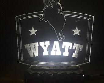 Rodeo night light, Kids night light, LED light, Nursery lamp, Western baby nightlight, Bronco night light, Cowboy led night light, led light