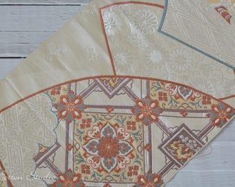 Vintage Japanese Silk Kimono Obi Fabric Embroidery Japanese Fan