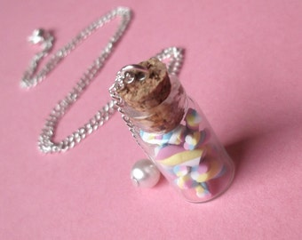 Marshmallow Necklace Bottle Necklace ( food necklace food jewelry polymer clay food marshmallow miniature bottle miniature food )