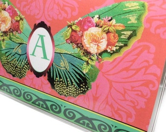 Personalized Butterfly Checkbook cover - Victorian Butterflies - pink and green, choose your initial to customize your check book holder