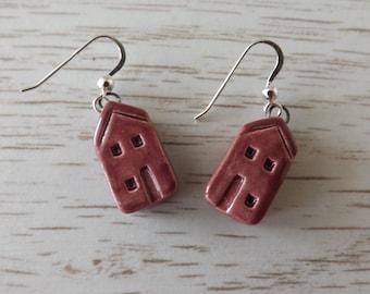 Red house earrings, ceramic earrings, ceramic building earrings, red earrings, home earrings, house jewellery, earrings, ceramic jewellery