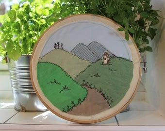 Textile art, fabric landscape,