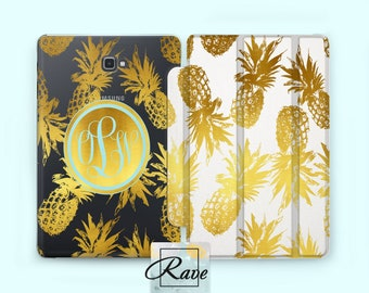 Tropical Pineapple Galaxy s2 case Samsung s3 Tab a 0.8 case Gold print art 10 inch Tablet case Tab A case Monogram cases Tab 10.1 case clear
