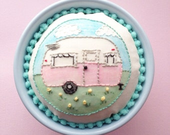 Vintage/Retro Inspired Camper/Trailer Custom Pincushion Embroidery Glamping