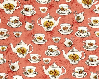 Windham AFTERNOON TEACUPS Rose Cotton Fabric - 1 Yard