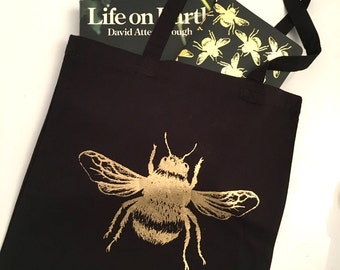Gold Foil Bumble Bee Tote Bags!