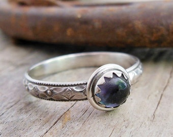Iolite Ring, Sterling Silver Gemstone Ring, Stacking ring with a Diamond Floral Band